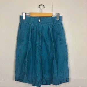 Vintage High Waisted Silk Teal Shorts Sz 27